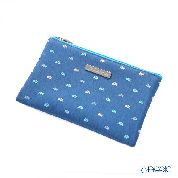 Jim Thompson 'Elephant Petit' Indigo Blue 1310038A Pouch with Tissue Case 13.5x9cm