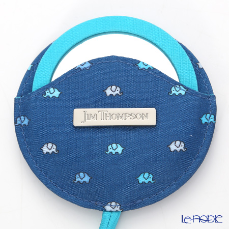 Jim Thompson 'Mini Elephant' Indigo Blue 11310038A Round Mirror with Cover 7.5cm