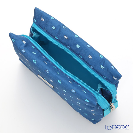 Jim Thompson 'Mini Elephant' Indigo Blue 11310038A Cosmetic Pouch 17.5x11cm