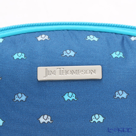Jim Thompson 'Mini Elephant' Indigo Blue 11310038A Oval Pouch 17x10cm