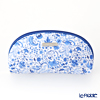 Jim Thompson 'Elephant Arabesque' White Blue 1135442C Oval Pouch 17x10cm