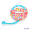 Jim Thompson 'Orange Little Flower' Pink / Turquoise Blue 11310044B Round Mirror with Cover 7.5cm