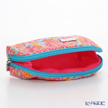 Jim Thompson 'Orange Little Flower' Pink / Turquoise Blue 11310044B Oval Pouch 17x10cm