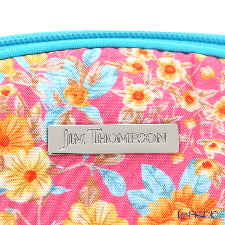 Jim Thompson 'Orange Little Flower' Pink / Turquoise Blue 11310044B Oval Pouch 17x10cm