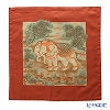 Jim Thompson 'Erawan Elephants' Red PSB9588A Ruffled Silk Cushion Cover 46x46cm