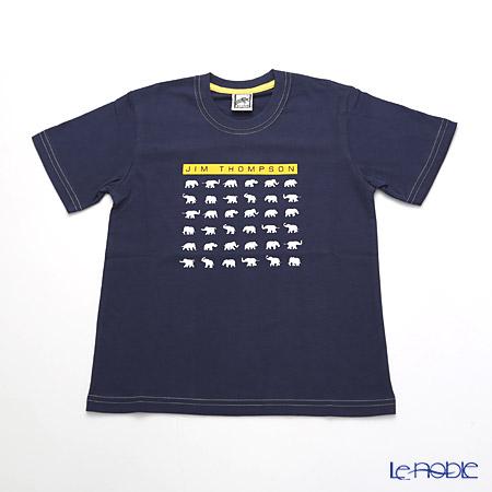 ジムトンプソン 子供服 Tシャツ S(4-7歳) ホワイトゾウ36/ダークブルー
