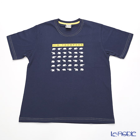 ジムトンプソン 子供服 Tシャツ M(8-11歳)ホワイトゾウ36/ダークブルー