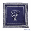 Jim Thompson 'Elephant / Stripe frame' Blue 2279663B Cotton Handkerchief 45×45cm (L)
