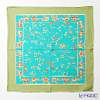 Jim Thompson 'Flower - Elephants' Turquoise Blue / Green frame 9590F Silk Handkerchief 46.5x46.5cm (L)