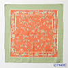 Jim Thompson 'Flower - Elephants' Orange / Green frame 9590G Silk Handkerchief 46.5x46.5cm (L)