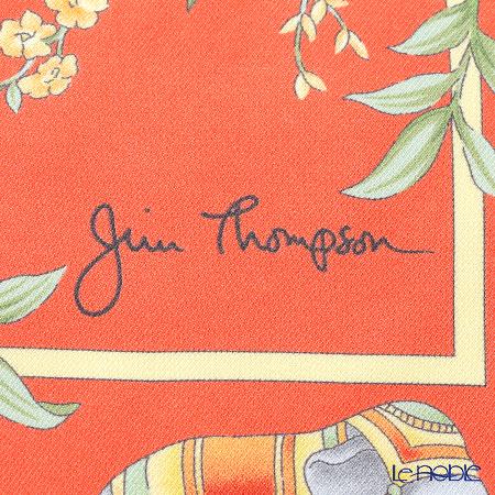 ジムトンプソン シルクスカーフ スクエア PSB9494Fゾウフレーム フラワー オレンジ