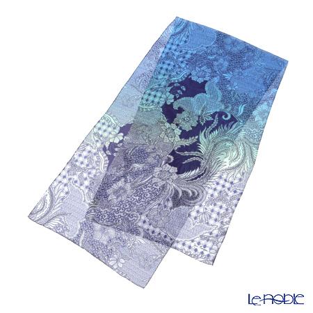 ジムトンプソン シルクロングスカーフ 1428738Bエンシャントプラント ブルー系