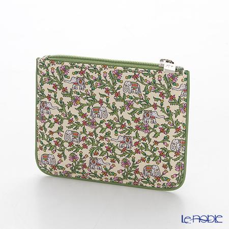 Jim Thompson 'Elephant & Flower Vine' Cream / Green 1135225H Flat Case 11.5x9.5cm
