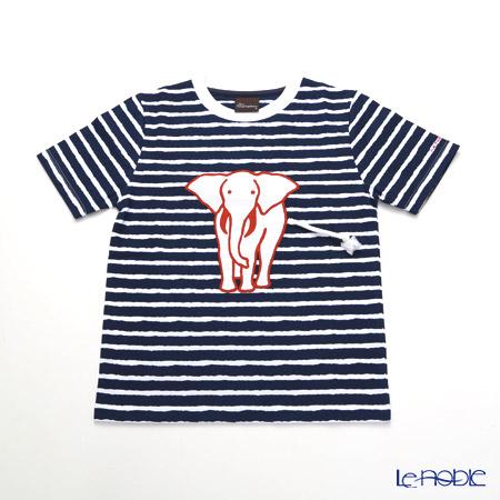 ジムトンプソン 子供服 Tシャツ S(4-7歳)ホワイトゾウ/ストライプ/ダークブルー