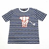 Gift kids clothing T-shirt (8-11 years old) White sow/stripe and dark blue