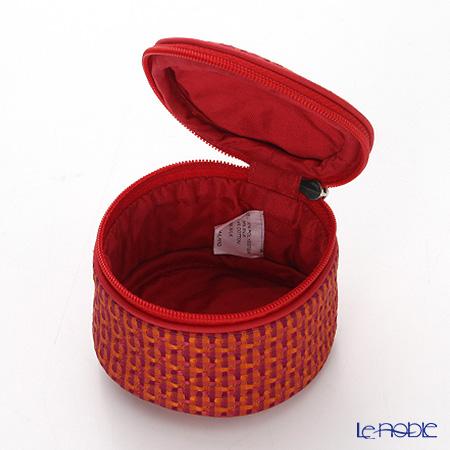 Jim Thompson 'Check' Orange Red 145000MK Round Case 8x6cm