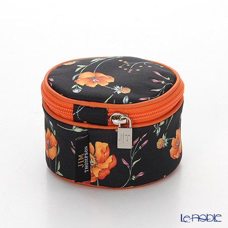 Jim Thompson 'Orange Meadow Flower' Black 1136252A Round Case 8x6cm