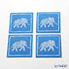 Thompson coasters set of 4 Elephants 1 / blue 9316 / 7701 A