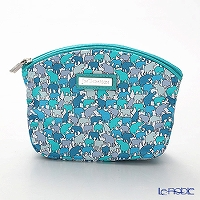Jim Thompson 'Elephant silhouette' Aqua Blue Green 11365251A Cosmetic Pouch 14x10cm (S)