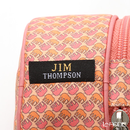 Jim Thompson 'Happy Elephant silhouette' Pink Orange 1136249N Round Case 8x6cm