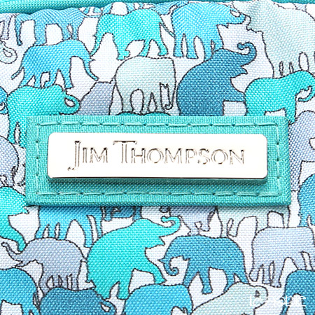 Jim Thompson 'Elephant silhouette' Aqua Blue Green 1136251A Oval Pouch 17x10cm