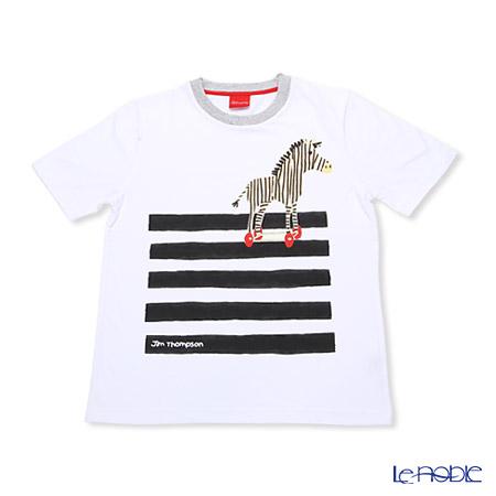 ジムトンプソン 子供服 Tシャツ S(4-7歳)シマウマ/ホワイト