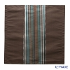 Jim Thompson 'Half Stripe' Brown / Turquoise Blue 3543/05T Ruffled Silk Cushion Cover 49x49cm