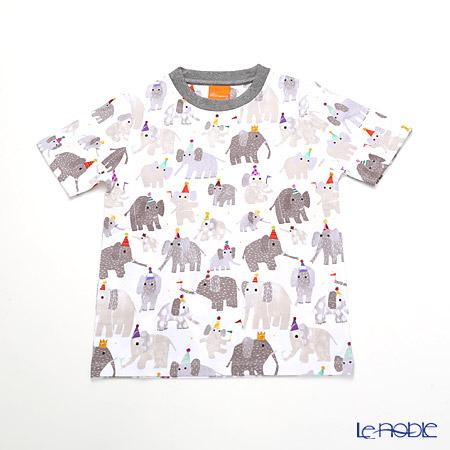 ジムトンプソン 子供服 Tシャツ S(4-7歳)ミニゾウパーティー/ホワイト