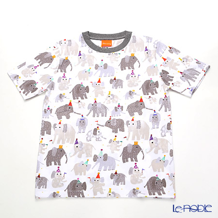 ジムトンプソン 子供服 Tシャツ M(8-11歳)ミニゾウパーティー/ホワイト