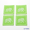 Thompson coasters set of 4 Elephants 1 / green 9316 / 7701 E