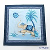Thompson Cushion cover cotton ruffle 7686B Elephant balloon kick / blue