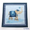 Jim Thompson 'Elephant Balloon Toss' Blue 7687B Ruffled Cotton Cushion Cover 46x46cm