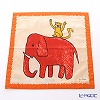 Jim Thompson 'Red Elephant with Monkey' Orange frame 7690A Ruffled Cotton Cushion Cover 46x46cm