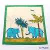 Jim Thompson 'Blue Elephant Family' Green frame 7691A Ruffled Cotton Cushion Cover 46x46cm