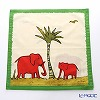 Jim Thompson 'Red Elephant Family' Green frame 7692A Ruffled Cotton Cushion Cover 46x46cm