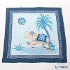 Jim Thompson 'Elephant Kicking Balloon' Blue PSB7686B Silk Handkerchief 46.5x46.5cm (L)