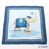 Jim Thompson 'Elephant Balloon Toss' Blue PSB7687B Silk Handkerchief 46.5x46.5cm (L)