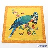 Jim Thompson 'Blue Parrot & Butterfly' Yellow Orange 0257A Ruffled Silk Cushion Cover 46x46cm