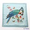 Jim Thompson 'Blue Parrot & Butterfly' Blue 0257B Ruffled Silk Cushion Cover 46x46cm