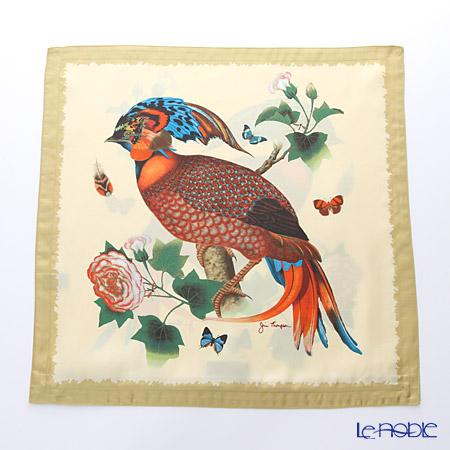 ジムトンプソン クッションカバーシルク フリル 0258A南国の鳥/花/蝶 ベージュ
