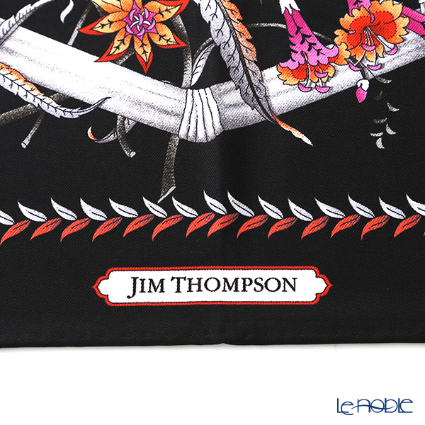 Jim Thompson silk scarf square PSB8993C Flower gate/black