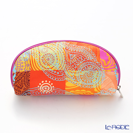 Jim Thompson 'Ancient Pattern Mix' Red Orange 1136416A Oval Pouch 17x10cm
