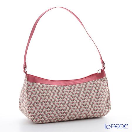 Jim Thompson 'Khonthai' Beige & Pink 1136438A Crescent Bag 23x10cm