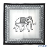 Jim Thompson 'Ceremony Elephant Dressed Up' Grey / Black frame PSB80004D Silk Square Scarf 82x82cm