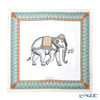 Jim Thompson 'Ceremony Elephant Dressed Up' Grey / Jade Blue frame PSB80004E Silk Square Scarf 82x82cm