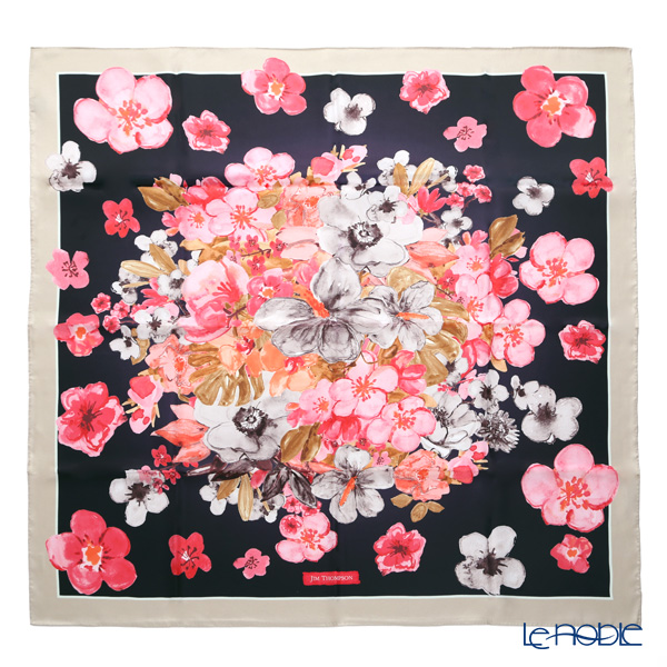 ジムトンプソン シルクスカーフ スクエアハイビスカスシャワー ピンク/ブラック 83×83cm PSB80006A