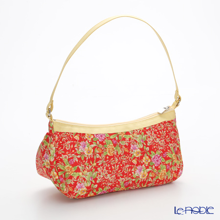 Jim Thompson 'Yellow Pink Little Flower' Red / Yellow 11310044E Crescent Bag 23.5x12cm