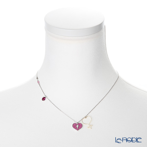 Swarovski 'Mine - Heart (Lock) / Pink' Rhodium & Gold SW5409469 [2018] Necklace 38cm