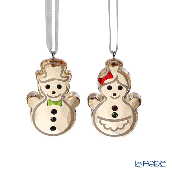 Swarovski 'Christmas - Gingerbread Snowman Couple' Gold SWV5464885 [2019] Ornament (set of 2)
