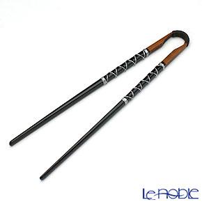 若狭塗箸 古代箸 黒 糸巻き 24cm M-20006